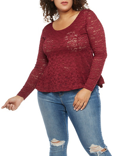 Plus Size Lace Peplum Top,BURGUNDY,large