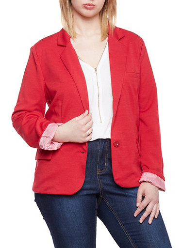 Plus Size Two Button Blazer with Contrast Lining,RED,large