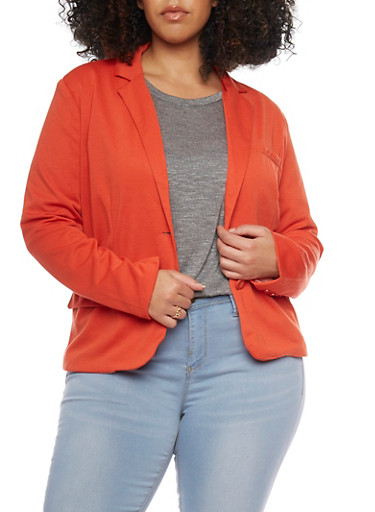 Plus Size Two Button Blazer with Contrast Lining,RUST,large