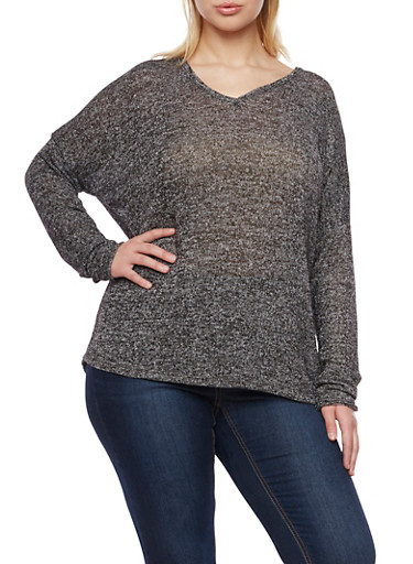 Plus Size Marled Knit V Neck Top,BLACK,large