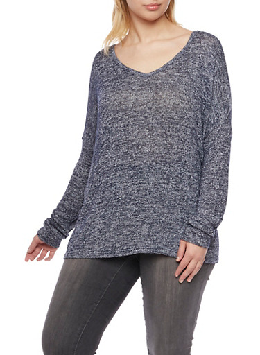 Plus Size Marled Knit V Neck Top,NAVY (ECLIPSE),large