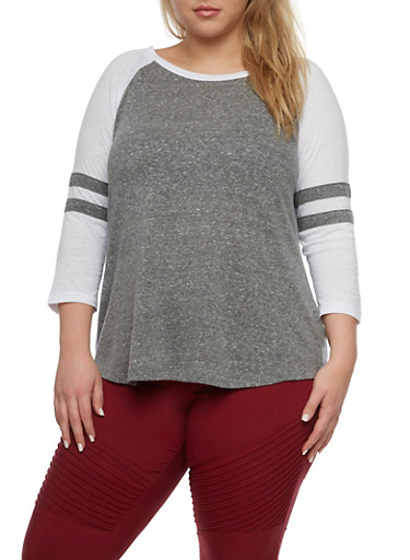 Plus Size Raglan Top with Striped Sleeves,GRAY/WHITE,large