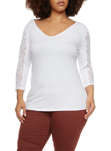 Plus Size Top with Lace Paneling and Back Cutout,WHITE,large