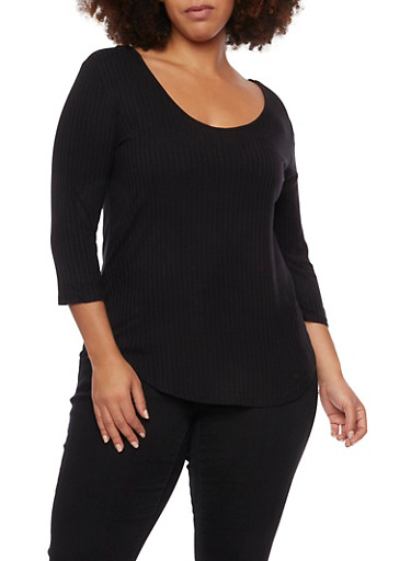 Plus Size 3/4 Sleeve Top with Lace Up Back,BLACK,large