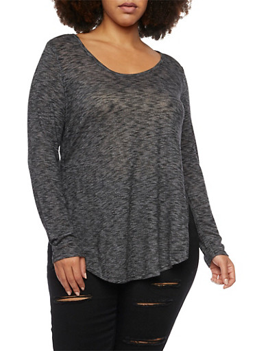Plus Size Marled Knit Top with Scoop Neck,BLACK,large