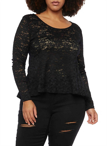 Plus Size Lace Peplum Top with Scoop Neck,BLACK,large