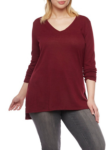 Plus Size V Neck Tunic Top with High Low Hem,BURGUNDY,large