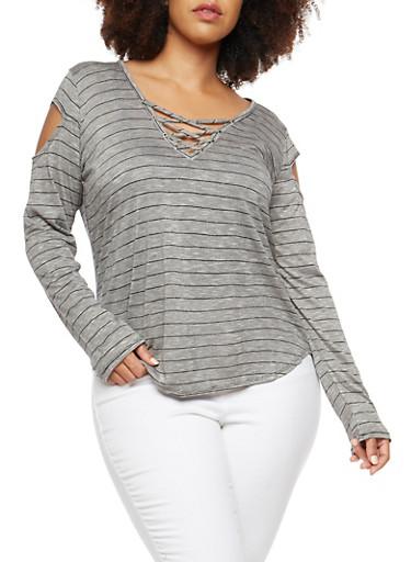 Plus Size Striped Slit Shoulder Top,BLACK,large
