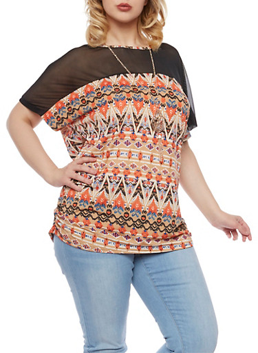 Plus Size Printed Top with Mesh Trim and Necklace,RUST-TAN,large