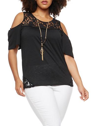 Plus Size Lace Crochet Trim Cold Shoulder Top,BLACK,large