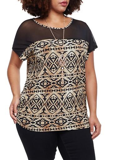 Plus Size Aztec Print Top with Mesh Paneling,BLACK-TAN,large