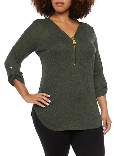 Plus Size Tunic Top with Zip V Neck,OLIVE,large