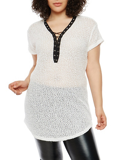 Plus Size Popcorn Knit Tunic Top,OFF WHITE,large