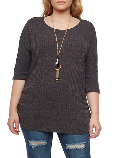 Plus Size Ribbed Top with Necklace and Ruched Sides,CHARCOAL,large