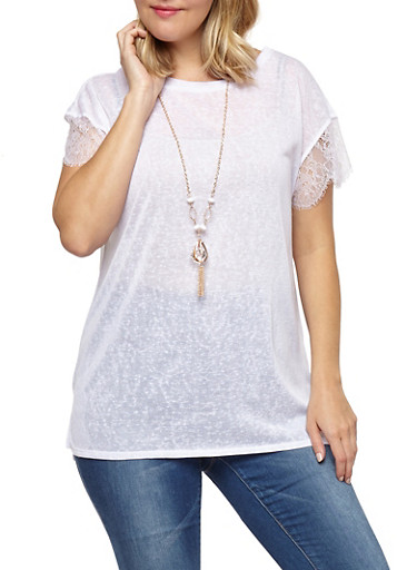 Plus Size Lace Sleeve Top with Necklace,WHITE,large