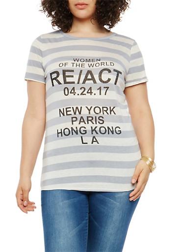 Plus Size Striped Graphic Keyhole Back T Shirt,GRAY,large