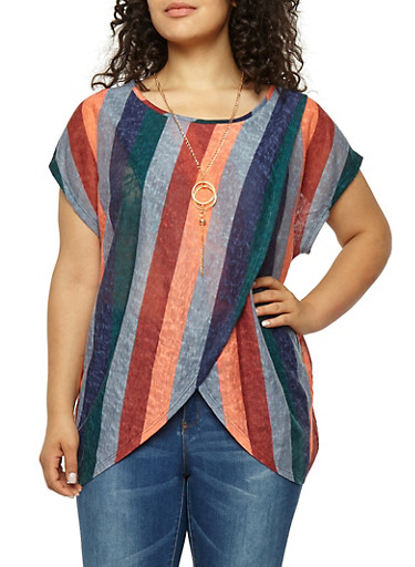 Plus Size Striped Asymmetrical Top with Necklace,HUNTER,large