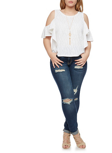 Plus Size Cold Shoulder Top with Flutter Sleeves and Necklace,WHITE,large