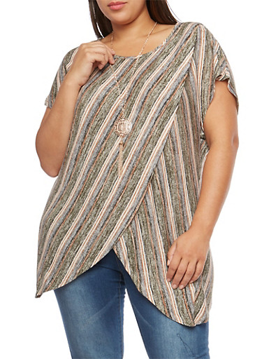 Plus Size Striped Asymmetrical Top with Necklace,OLIVE-TAUPE,large