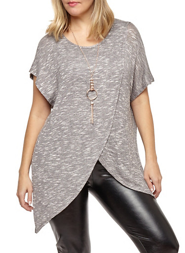 Plus Size Asymmetrical Top with Necklace,BLACK,large