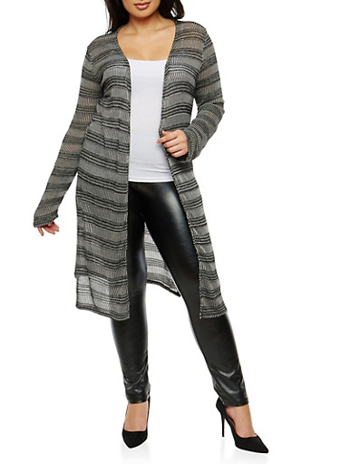 Plus Size Striped Open Front Duster,BLACK,large