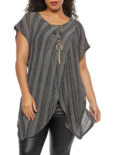 Plus Size Two Tone Knit Asymmetrical Top,BLACK,large