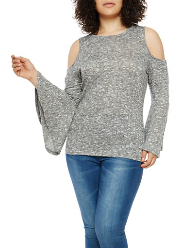 Plus Size Marled Cold Shoulder Bell Sleeve Top,CHARCOAL,large