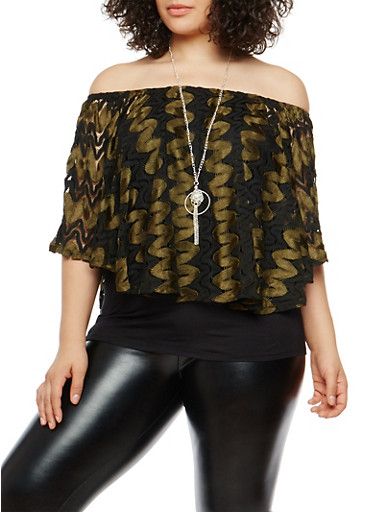Plus Size Crochet Overlay Off the Shoulder Top with Necklace,BLACK-OLIVE,large