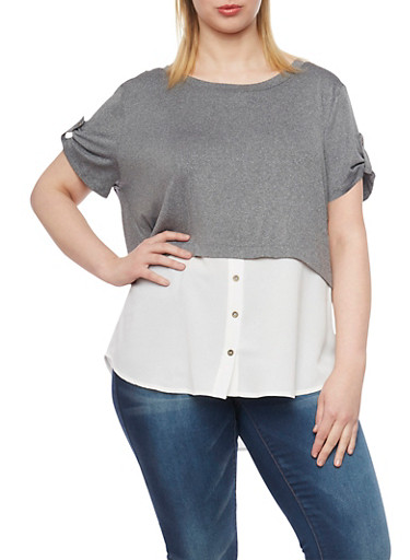 Plus Size Two Tone Short Sleeve Shirt Blouse,CHARCOAL -IVORY,large
