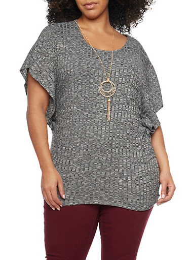 Plus Size Dolman Sleeve Top with Necklace,BLACK 2TONE,large