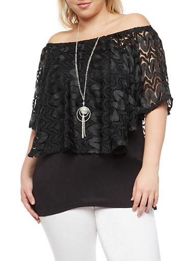 Plus Size Lace Overlay Off the Shoulder Top,BLACK,large