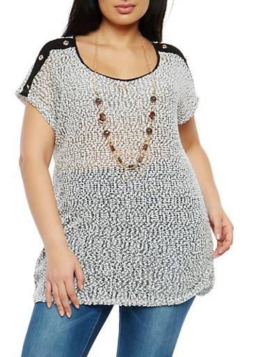 Plus Size Button Detail Popcorn Knit Top with Necklace,BLACK/WHITE,large