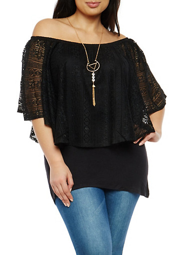 Plus Size Off the Shoulder Crochet Lace Overlay Top,BLACK,large