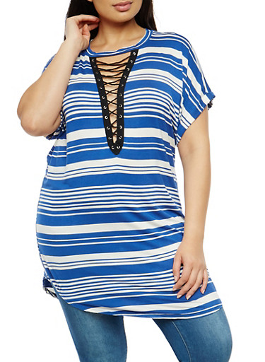 Plus Size Striped Lace Up Tunic Top,COBALT-IVORY,large