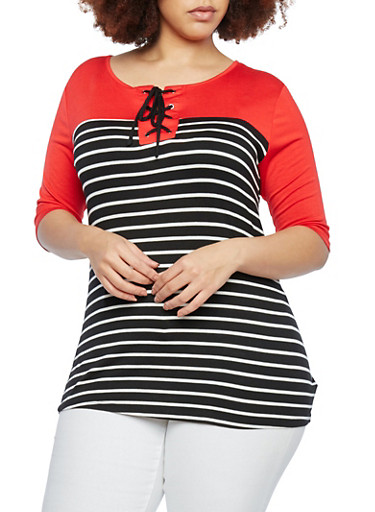 Plus Size Striped Color Block Top with Lace-Up Scoop Neck,BLACK/WHITE/RED,large