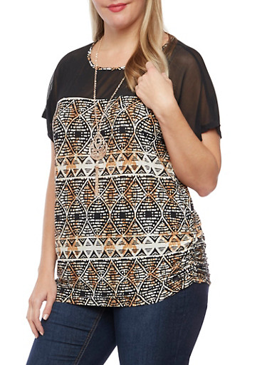 Plus Size Printed Top with Mesh Panel and Necklace,BLACK-BROWN,large