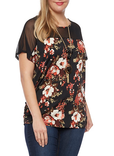 Plus Size Floral Top with Mesh Panel and Necklace,BLACK,large