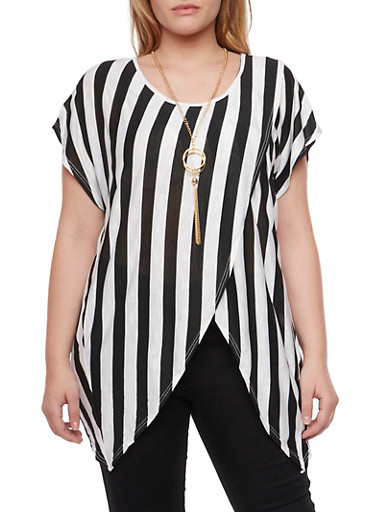Plus Size Striped Top with Tulip Hem and Necklace,BLACK,large