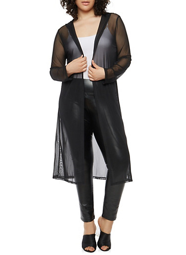 Plus Size Hooded Mesh Duster,BLACK,large