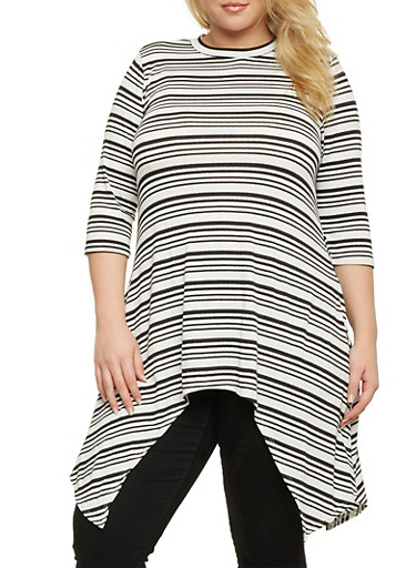 Plus Size Striped Top with Asymmetrical Hem,BLACK,large