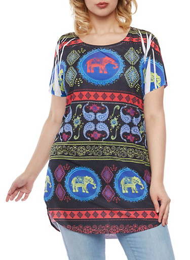 Plus Size Short Sleeve Tunic Top in Elephant Print,BLACK PRT,large