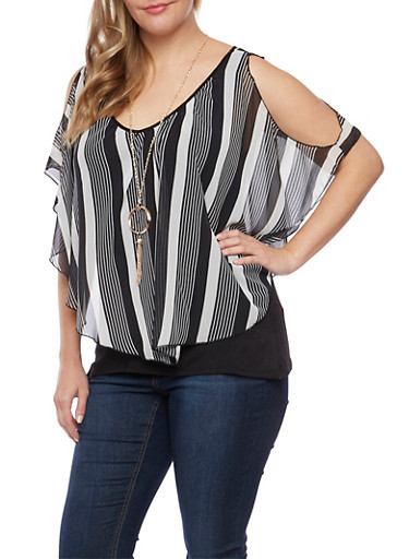 Plus Size Top with Striped Overlay and Necklace,BLACK/WHITE,large