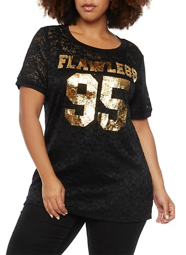 Plus Size Lace Graphic Tee with Flawless Print,BLACK PRT,large