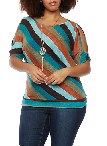 Plus Size Striped Cold Shoulder Top with Necklace,OLIVE,large