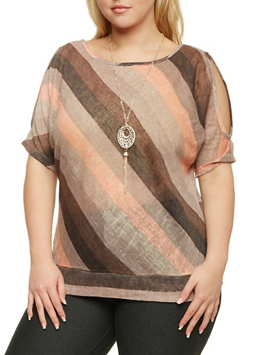 Plus Size Striped Top with Removable Necklace,MOCHA-BLUSH,large