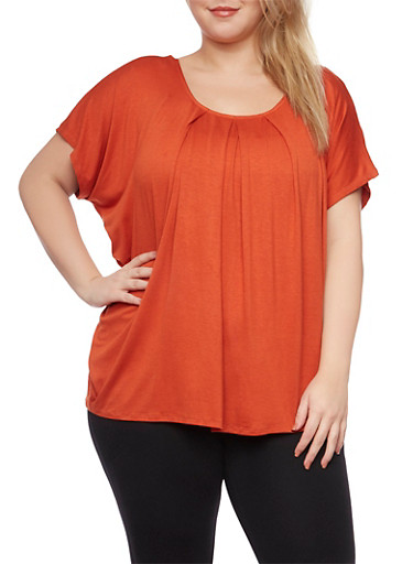 Plus Size Top with Beaded Back,RUST,large