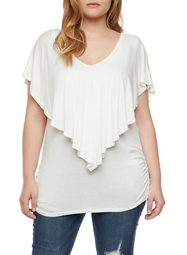 Plus Size Flutter Overlay Top,WHITE,large