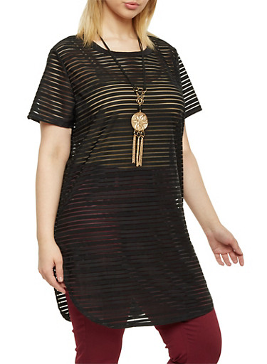 Plus Size Striped Tunic Top with Necklace,BLACK,large