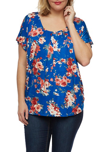 Plus Size Floral Top with Chain Back,RYL BLUE/WINE COMBO,large