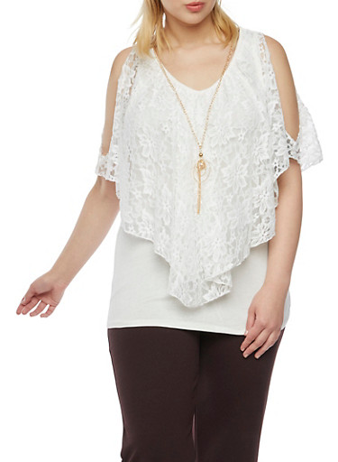 Plus Size Cold Shoulder Flutter Top with Necklace,IVORY,large